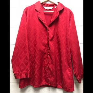 Victoria secret red button up satin sleep shirt